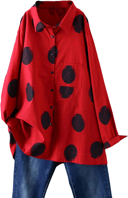Minibee Women's Button Down Tunic Tops Polka Blouse Cotton Shirt