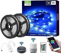 LE Ledstrip, 10 m (2 x 5 m), Alexa RGB ledstrip, IP20 waterdicht, smart ledstrip, slechts 2,4 GHz, wifi, voor thuis, keuke...