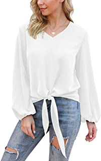 VIISHOW Womens Tie Front Knot Lartern Sleeve Loose Fit V Neck Floral Blouses Chiffon Tops Shirts