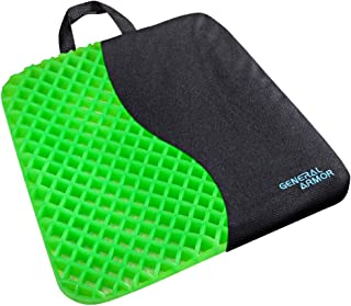 GENERAL ARMOR Gel Seat Cushion - Relieves Sciatica and Coccyx Pain - for Car, Office Chair, Wheelchair, or Home - Green (Thick 1.2 inch)