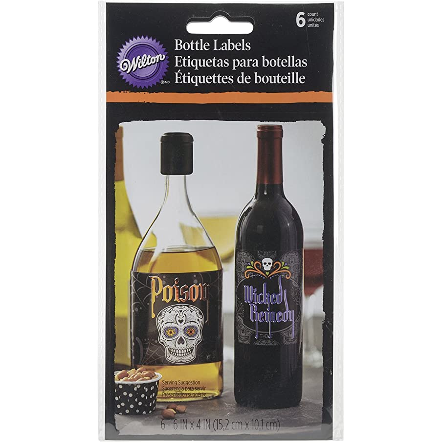 Wilton 1210-1053 Deadly Soiree Bottle Labels, Assorted