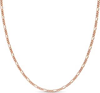 Rose Gold Plated Sterling Silver Figaro Chain Link Necklace Italian 2mm 24 Inch