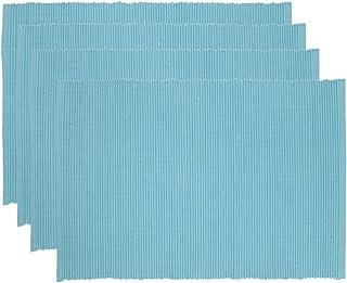Now Designs Spectrum Basic Cotton Placemats, Set of Four, Turquoise