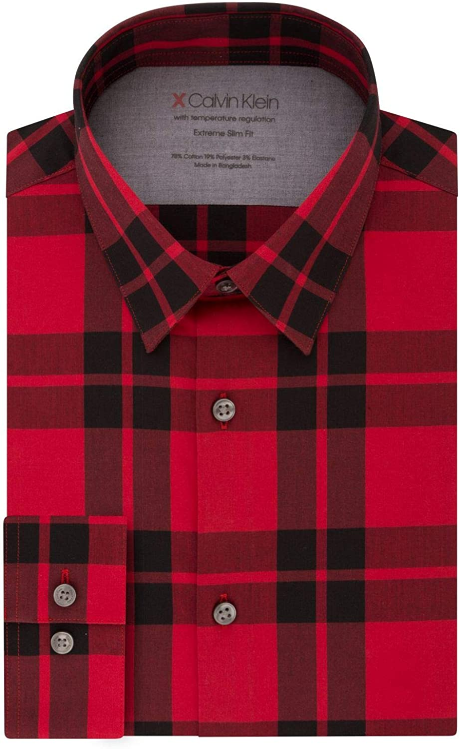 Calvin Klein Men's Dress Shirts Limited time for free shipping St Slim Xtreme Check-Thermal Fit OFFicial site