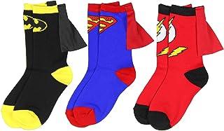 Superhero, DC Comics Superman Batman Flash jóvenes muchachos Caped 3 Pack Crew Socks (4-6).