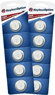 KeylessOption 2025 Battery Long Lasting 3v Lithium for Keyless Entry Remote Smart Key Fob Alarm Head Flip Keys CR2025 (10 Count)