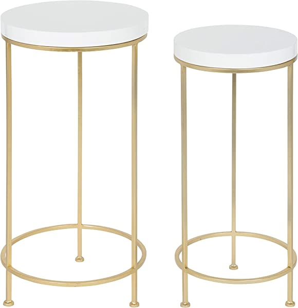Kate And Laurel 212018 Espada Metal And Wood Nesting Tables Gold