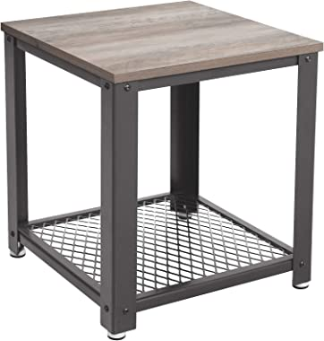 VASAGLE LET41MG Tavolino da Caffè in Stile Industriale, Struttura in Metallo, Montaggio Facile, per Soggiorno, Salotto, Camera da Letto, Cucina, Greige/Grigio