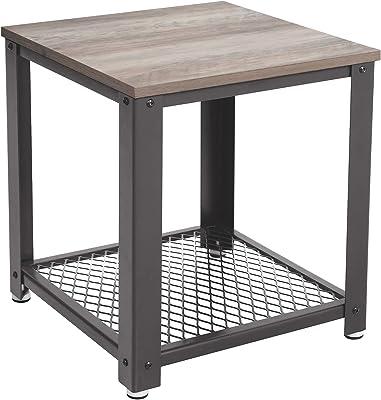 VASAGLE Table d'appoint, Table console, Table de chevet, cadre métallique, facile à assembler, pour salon, chambre, cuisine, style industriel, Greige et gris LET41MG
