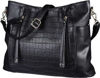 Tendycoco Bolsa feminina a tiracolo preta com zíper removível de couro, bolsa de mão portátil e luxuosa