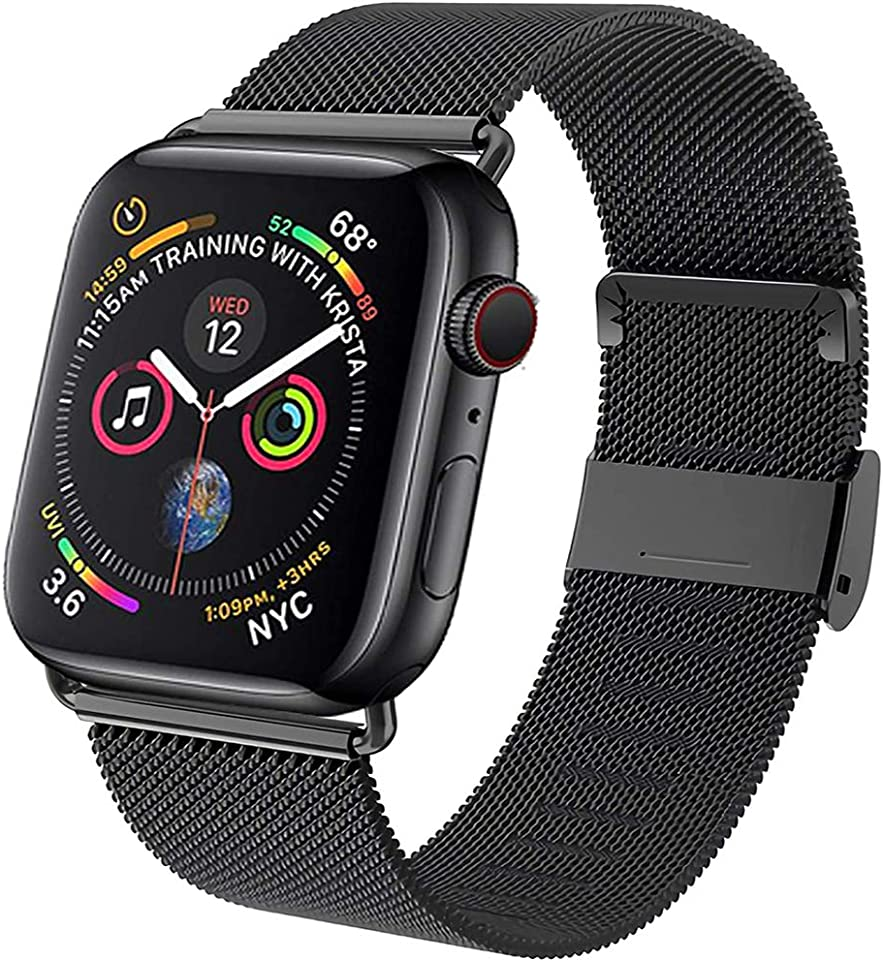 Neoda Ersatzarmband Kompatibel mit Apple Watch Armband 38mm 40mm, Metal Edelstahl Einstellbar Armband mit Magnet Kompatibel mit iWatch Serie 6/5/4/3/2/1/SE - Darkschwarz