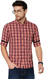 Dennis Lingo Men's Checkered Teal Blue Slim Fit Cotton Casual Shirt