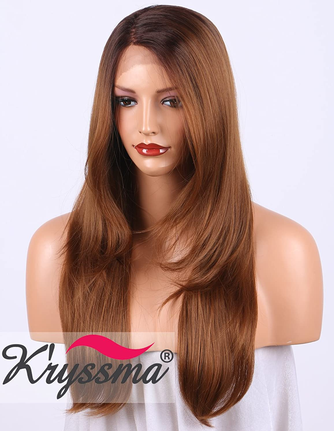 K'ryssma Long Natural Straight Ombre Synthetic Lace Front Wigs with Bangs, 2 Tones Dark Roots #4 to Brown #30 L Part Wig with Deep Side Parting Glueless Synthetic Wig for Women 20 inch (KMLM005)