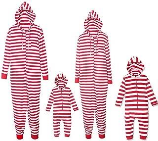 Christmas Family Matching Pajamas Strip Print Adult Child Jumpsuit Sleepwear PJs Set for Family