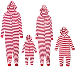 Christmas Family Matching Pajamas Strip Print Adult Child Jumpsuit Sleepwear PJs Set for Family