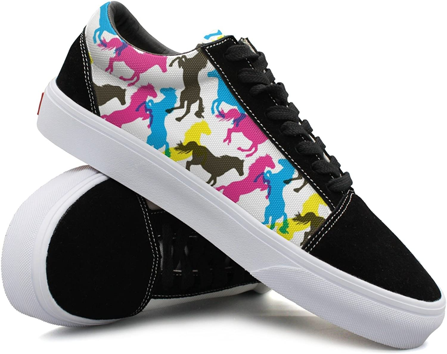 colorful Stylied Horses Women Casual Sneakers shoes Canvas Slip On Nursing Vegan