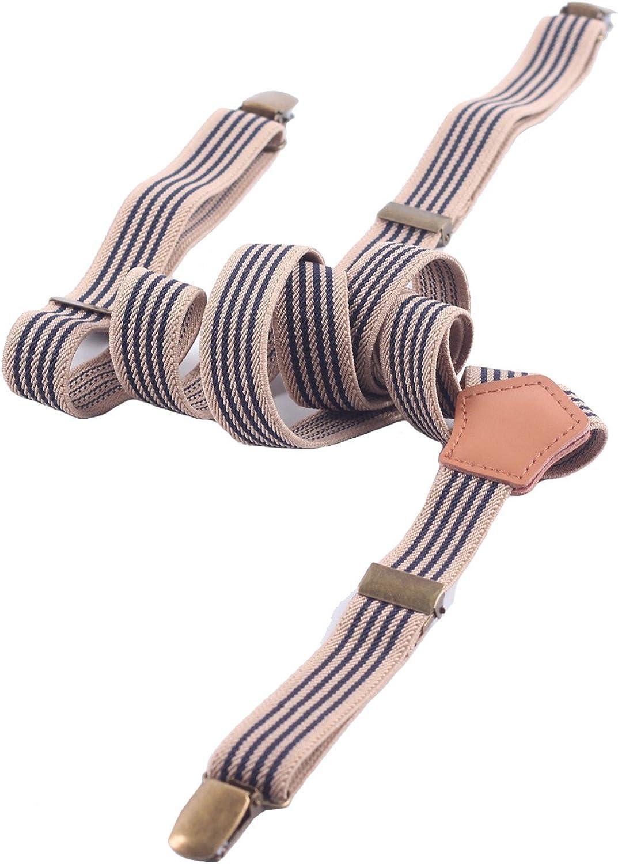 Aiklin Unisex Suspenders Vintage Elastic Braces With 3 Clip Stripe