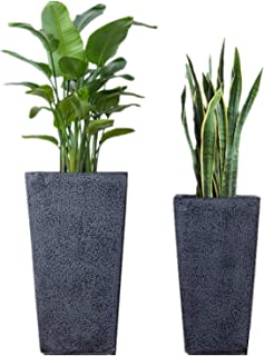 Large Indoor Outdoor Vertical Garden Flower Tall Planters 2 Pack 19'' & 25'' with Drainage