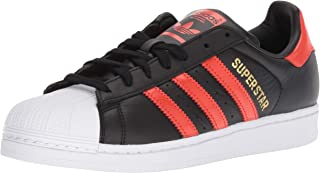 adidas Originals Men's Superstar Shoe Running, black/bold orange/white, 10 M US