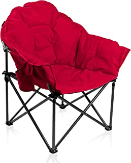 ALPHA CAMP Oversized Moon Saucer Chair with Folding Cup Holder and Carry Bag - Red