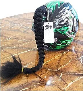 Hai Hong Helmet Pigtail Motorcycle Helmet Ponytail Bicycle Helmet Braids Hair Tails Used for Any Helmets/Reusable Design 24Inch Black Color
