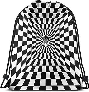 Mochila Con Cordón,Drawstring Bolsa De Gimnasio,Optical Illusion Racing Flag Women/Men Gym Bag,Cinch Bag Portable Para Exteriores,Camping,Deporte,Gimnasio,Viajes