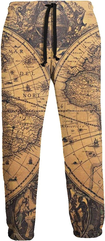 New Free Shipping Men's Old Vintage World Map Close Bottom Ranking TOP12 Jogger Long Sweatpants