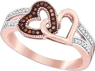 Brandy Diamond Dark Chocolate Brown 10k Rose Gold Double My Love Heart Ring 1/6 Ctw.