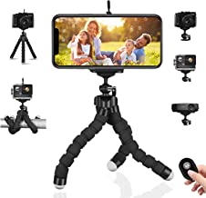 Phone Tripod Portable and Flexible Tripod with Wireless Remote Control & Phone Holder 360°Rotation Flexible Travel Tripod Universal Compatible Android iOS Smartphones (up to 50 feet)