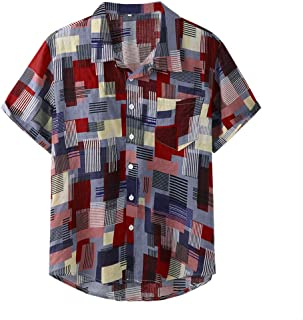 Men Short Sleeve Shirt Tops, Male Plaid Printed Button Loose T-Shirt Summer Blouse Top