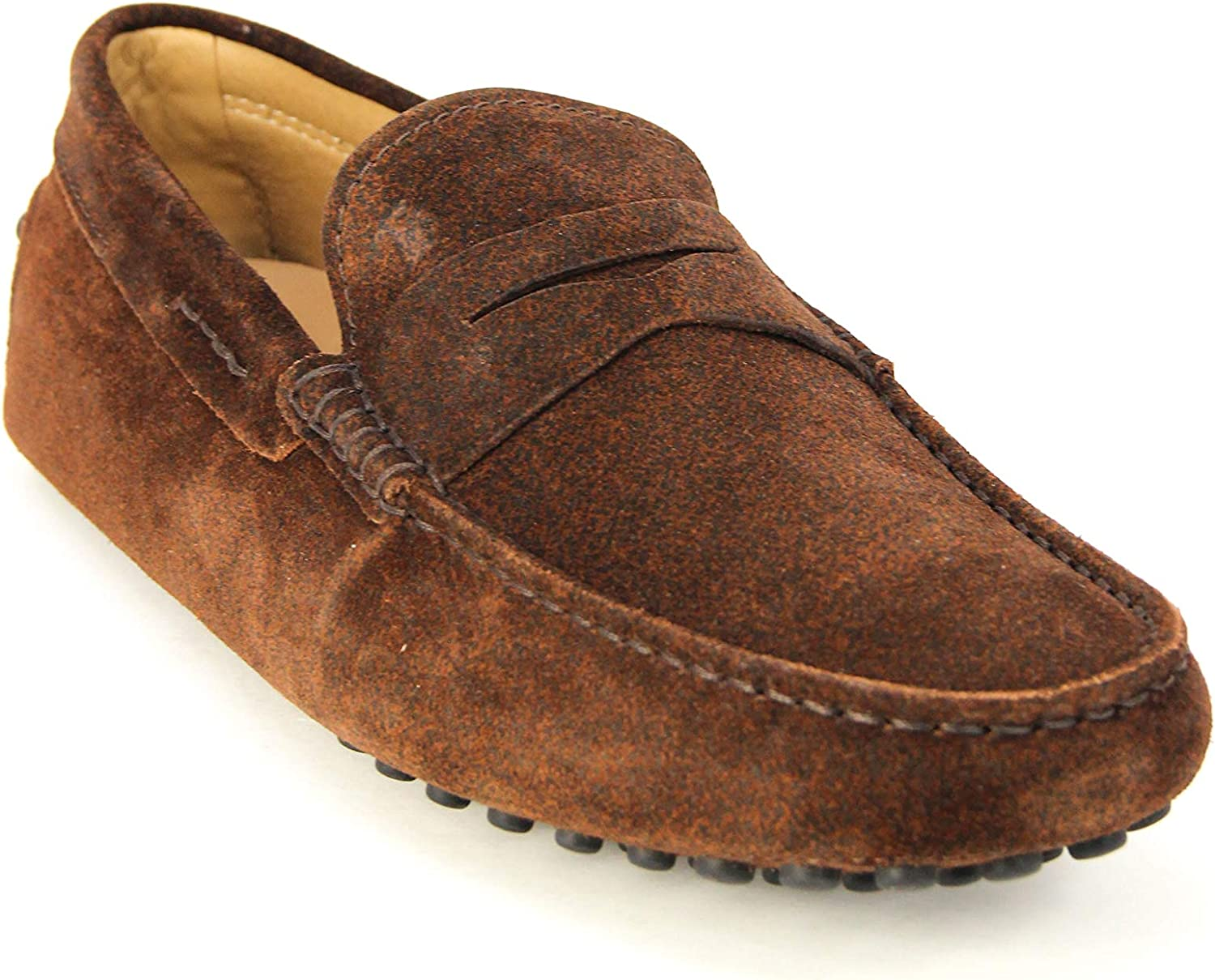 Tod's Men's Mocassino Gommino Leather Moccasins Loafers Shoes, Mogano Brown Suede
