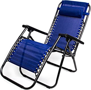 Zero Gravity Outdoor Folding Lounge Chair with Pillow, Blue