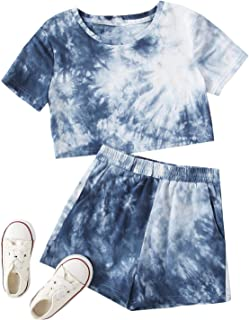 Romwe Girl's Tie Dye Shorts Set Short Sleeve Crop Tops and Shorts Set Outfit with Pocket