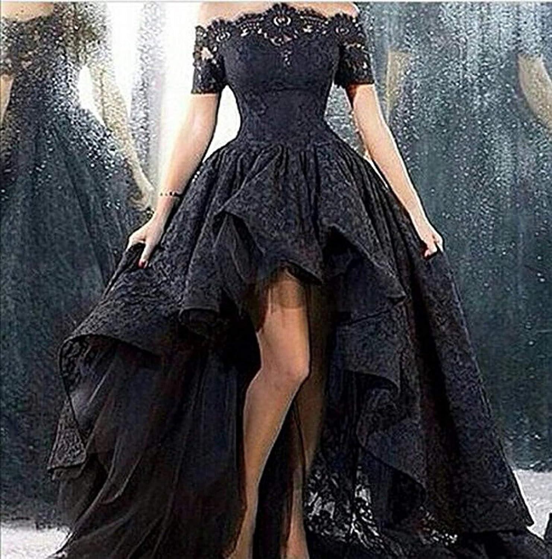 Diandiai Women's HiLo Prom Dress Short Sleeve Lace Evening Dress 2019 Black Off The Shoulder Formal Dress Plus Size