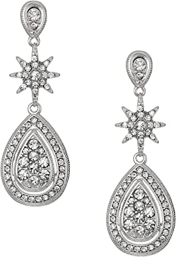 Betsey Johnson Blue by Betsey Johnson Crystal Stone Accent At Posts with Silver Tone Starburst and Teardrop Drops Earrings
