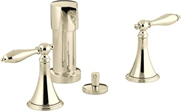 Kohler K 316 4m Af Finial Traditional Bidet Faucet With Lever Handles And Matching Handle Inserts Vibrant French Gold