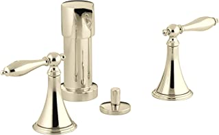 Kohler K-316-4M-AF Finial Traditional Bidet Faucet with Lever Handles and Matching Handle Inserts, Vibrant French Gold