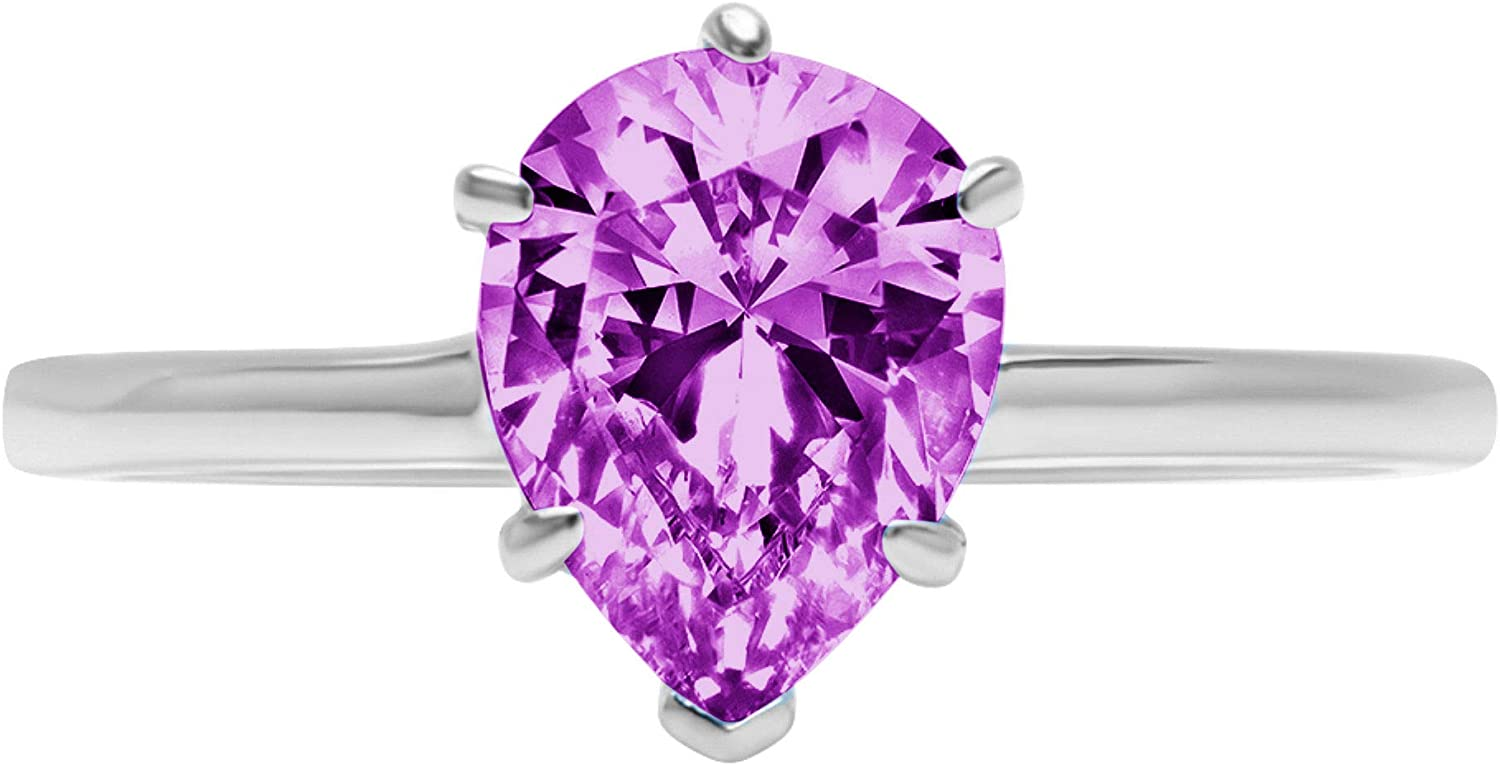 0.95 ct Brilliant Pear Cut Limited time cheap sale Solitaire CZ Flawless sale Simulated Purpl
