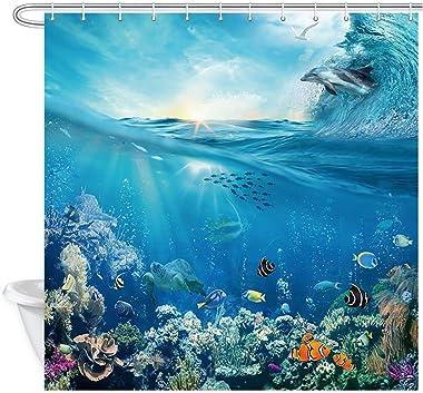 Underwater Sea World Shower Curtain, Marine Animals Dolphin Turtle and Fish View, Hawaiian Sunshine Tropical Blue Ocean Waves
