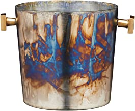 BarCraft Mercurial Wine Cooler Bucket with Zinc Fired Finish, Glass, Multi-Colour