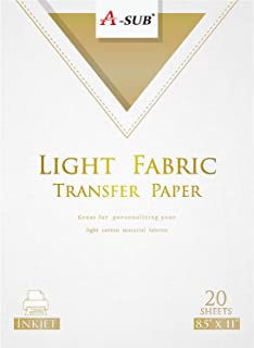 A-SUB Iron-On Light T-Shirt Transfer Paper 8.5x11 Inches Compatible with All Inkjet Printer 20 Sheets