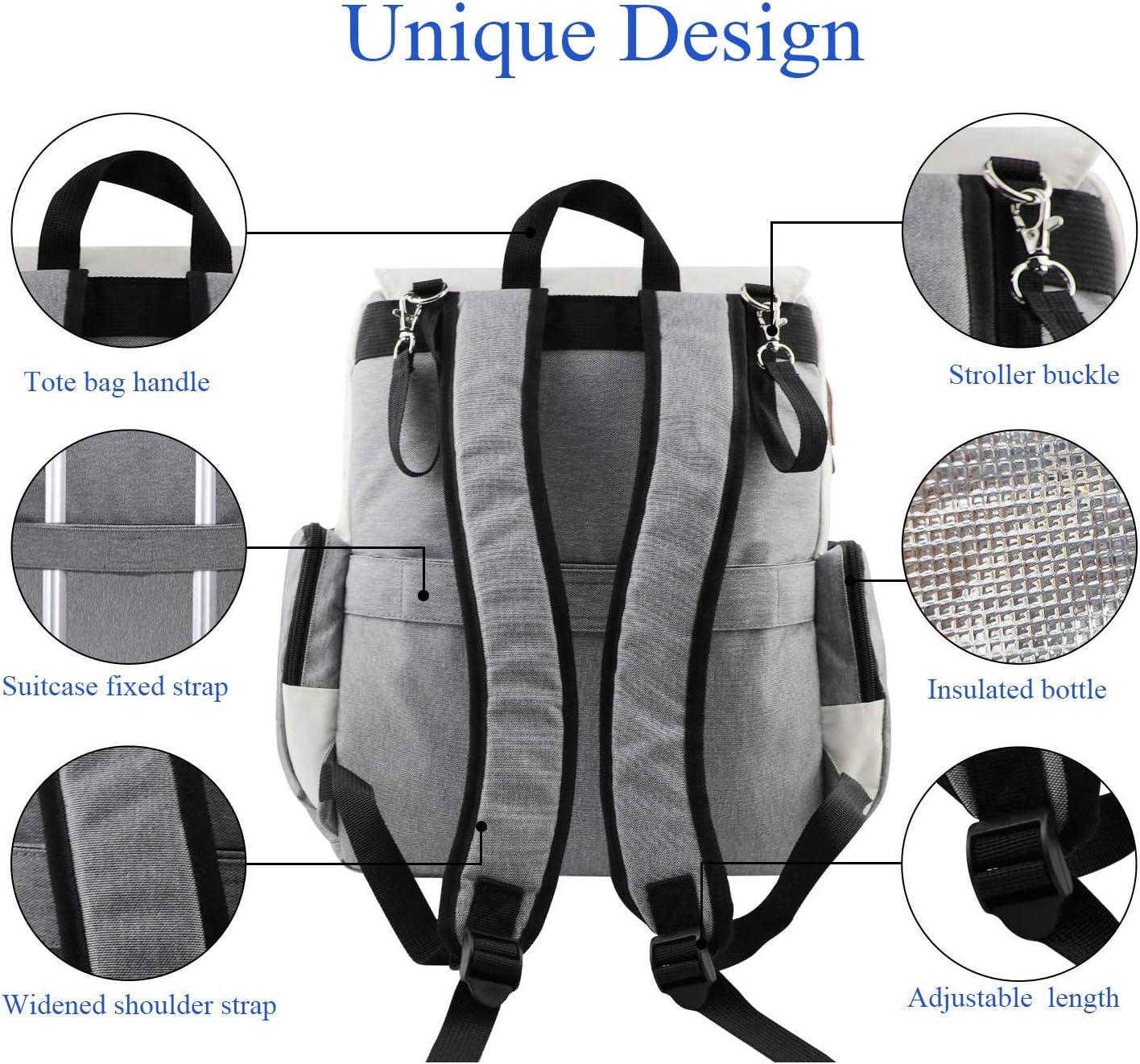 mochila con cambiador de pa/ñales con correas para cochecito color beige multifuncional Bolsa cambiadora de pa/ñales para beb/é impermeable gran capacidad para mam/á y pap/á