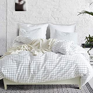 3 Piece Mini Grid Duvet Cover Set, Modern Black and White Plaid Checkered Pattern with Zipper Closure Reversible Bedding Sets