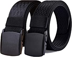 WYuZe Mens Nylon Web Belt No Metal Nickel Free 2Pk Military Tactical Hiking Belt