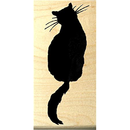 Cat Looking Down Rubber Stamp Mounted Wood Block Art Stamp