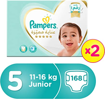 Pampers Premium Care Junior Diapers, Size 5, Dual Pack Mega Box - 11-18 Kg, 168 Count