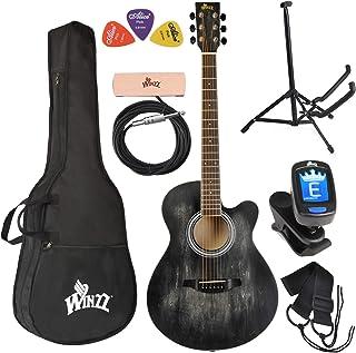 بسته نرم افزاری مبتدی گیتار صوتی WINZZ 40 اینچ با بسته بندی کیف ، پایه ، تنظیم ، وانت ، تسمه ، پیکسل ، سیاه