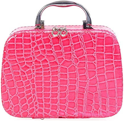 Hemiza Cosmetic Makeup Bag with Small Mirror and Adjustable Dividers (Pink)
