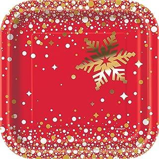 Square Foil Gold Sparkle Christmas Paper Cake Plates, 8ct