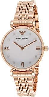 Emporio Armani Women's White Dial Stainless Steel Analog Watch - AR11267, White/Rose Gold